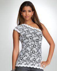 bebe Lace One Shoulder Top. LOVE!! :-) :-)