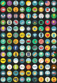 flat round icons preview e1388654162660 23 Best High Quality Free Flat Icon Sets