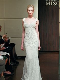 Badgley Mischka/Square Sheath Wedding Dress  with No Waist/Princess Seams in Lace. Bridal Gown Style Number:32710006