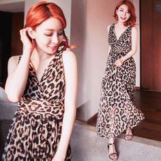 魅力女神深V豹紋雪紡長洋裝#korean#Leooard#Maxi#Dress
