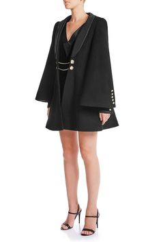 A tailored black wool coat with a little resemblance of tent coat silhouette and angel sleeves. Black Wool Coat, Angel Sleeve, Signature Collection, Mulberry Silk, Dress Making, Making Ideas, Fitness Models, Bell Sleeve Top, Women Wear