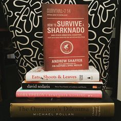 Its #Friday! What are your #WeekendReads? We're into nonfiction (mostly). #books #noraephron #sharknado #davidsedaris #reading #weekend #bookstagram #grammar #foodbooks