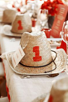 #place-settings, #rustic, #table-numbers, #party-hats, #cowboy  Photography: Aaron Delesie - www.aarondelesie.com Event Production