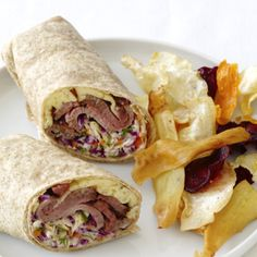 Roast Beef Wraps With Dill Slaw Recipe : Food Network Kitchen : Food Network I made this for a party and got lots of compliments. I made the sandwiches with spinach and tomato wraps for color. Roast Beef Wrap, Sliced Roast Beef, Roast Beef Recipes, Slaw Recipes, Sandwich Recipes, Sandwich Ideas, Sandwich Fillings, Sandwiches For Lunch, Wrap Sandwiches