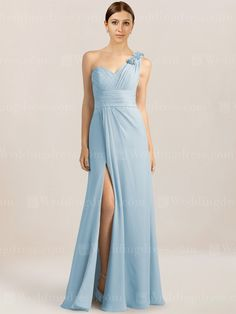 One shoulder long bridesmaid dress features shirred bodice and waistband. Side zipper. Available in 60 colors, show in Blue Pastel.