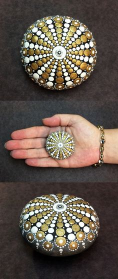 """Mandala Stone (Mini) by Kimberly Vallee: Hand painted with acrylic and protected with a matt finish, this cute little """"Mini"""" stone is only between 1.5"""" and 2"""" wide. It is one-of-a-kind."""