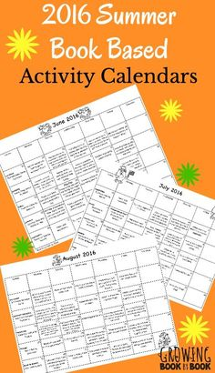 Summer activity calendars based on favorite books with a summer theme. Includes book recording sheets, library lists and bonus email tips! Great summer homework packet ideas.