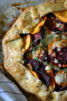 Sweet potato beet galette with cheese and rosemary