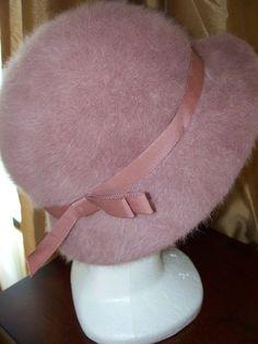 mauve faux fur hat, vintage with grosgrain ribbon. kangol design, england.
