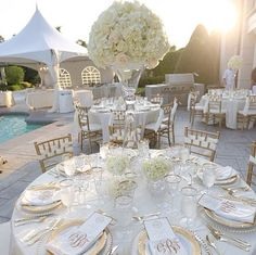Beautiful white rose centerpieces and gold chargers