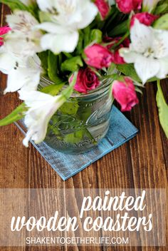 Rustic, wooden painted coasters - an easy DIY using cedar shims!