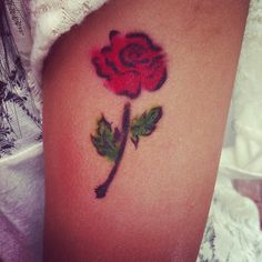 Stylized Red Rose Tattoo