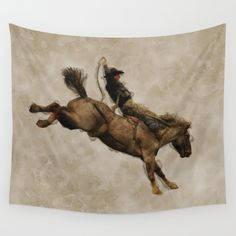 Available in three distinct sizes, our Wall Tapestries are made of 100% lightweight polyester with hand-sewn finished edges. Featuring vivid colors and crisp lines, these highly unique and versatile tapestries are durable enough for both indoor and outdoor use. Machine washable for outdoor enthusiasts, with cold water on gentle cycle using mild detergent - tumble dry with low heat. https://society6.com/product/western-style-bucking-bronco-cowboy_tapestry?curator=skyeryanevans