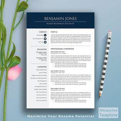 Professional Resume Template, CV Template, Cover Letter, Word, Creative  Modern Simple Teacher