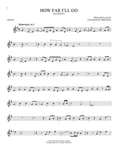 Alessia Cara 'How Far I'll Go (from Moana)' Sheet Music, Notes & Chords Alessia Cara How Far I'll Go (from Moana) sheet music, piano notes, chords. Transpose, print or convert PDF and learn to play Violin Solo score in minutes. Moana Sheet Music, Disney Sheet Music, Sheet Music Notes, Keyboard Sheet Music, Music Sheets, Trumpet Sheet Music, Saxophone Sheet Music, Cello Music, Disney Musik