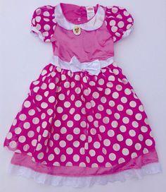 Size 4-6X Minnie Mouse Disney Pink Dress Costume Girls Pretend Play #Disney #Dress