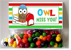 Owl Favor Bag Toppers - A great end of the school year, graduation or teacher thank you gift.  Check our all our designs at http://www.customwrappers4u.com/SearchResults.asp?Search=tt000