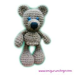 brown crochet bear with hand stitched nose  Free pattern