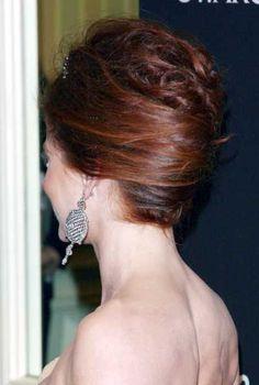 Debra Messings elegant french twist hairstyle