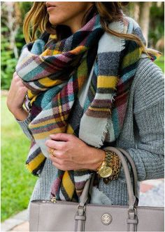 Cute plaid blanket scarf!