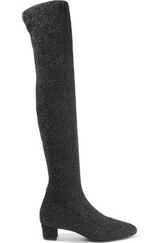 Giuseppe Zanotti - Natalie Glittered Stretch-knit Over-the-knee Boots - Black