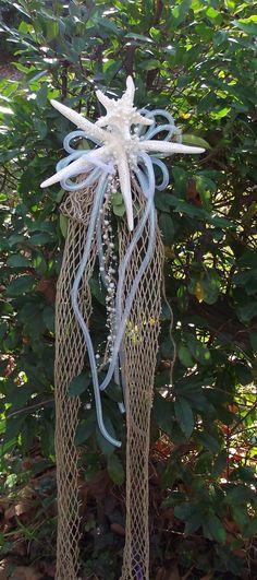 Nautical fish net tree topper bow sea shell by UptownGirlzz, $29.50