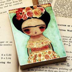 Handmade Gifts | Independent Design | Vintage Goods Frida In Bloom - Print On Wood - New Arrivals