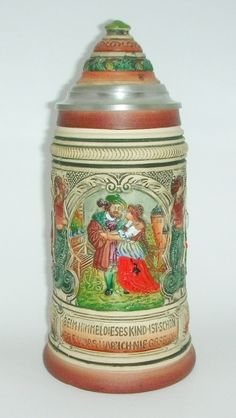 Faust Themed Peter Duemler Beer Stein Lidded - Germany