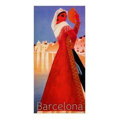 Vintage Travel, Barcelona Spain Posters