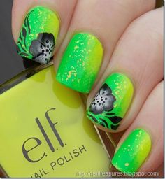 "Black flower stamping over bright ""lemon lime"" with glitter.. thats not stamping"