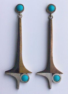MODERNIST  Earrings   Silver Pinchbeck Turquoise