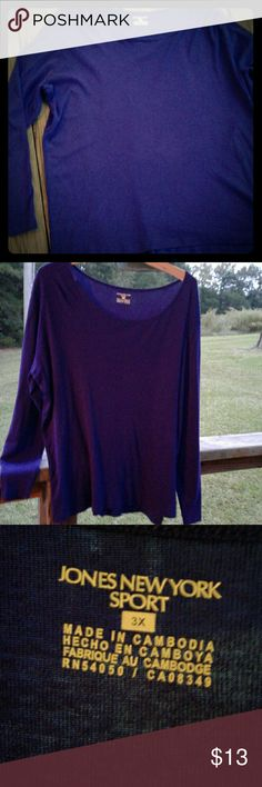 Women's Plus Jones New York Long Sleeve Classic Jones New York long sleeve tee.  Beautiful jewel-toned purple.  Perfect for fall! Jones New York Tops Tees - Long Sleeve