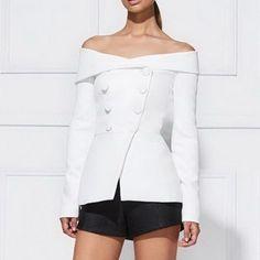 Autumn Fashion Double Beasted Buttons Slim ladies Blazers Sexy Slash Neck Off Shoulder Blazer femme Elegant Suit Coat Woman