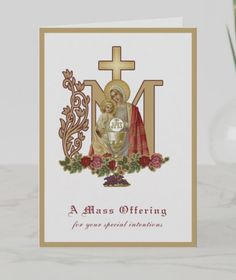 Give the Gift of the Holy Mass Catholic Mass, Catholic Funeral, Mary And Jesus, Card Sizes, Cross Symbol, Christmas Cards, Christmas Ornaments, Blessed Virgin Mary, Plant Design