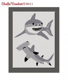 Buy 2 get 1 free Chella Crochet Shark Hammerhead Great White Afghan Crochet Pattern
