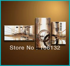Framed 3 Panel Large High End Stunning 3 Panel Canvas Art Brown Wall Decor Abstract Oil Painting Picture A0402 US $149.00
