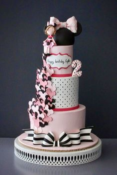 pink, black and white Minnie Mouse Cake - Cakes - Torten İdeen Bolo Minnie, Mickey Cakes, Minnie Mouse Cake, Unique Cakes, Creative Cakes, Fancy Cakes, Cute Cakes, Baby Girl Birthday Cake, Novelty Cakes