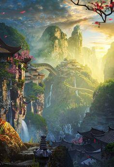 New fantasy landscape magic animation Ideas Artwork Fantasy, Fantasy Concept Art, Fantasy Art Landscapes, Fantasy Landscape, Landscape Art, Landscape Concept, Fantasy Paintings, Fantasy Kunst, Fantasy City