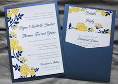 Bring your colour through to the wedding invitatiotns - Golden Yellow & Navy Blue Spring Flower Clutch Pocket Wedding Invitations Yellow Wedding Invitations, Pocket Invitation, Pocket Wedding Invitations, Wedding Stationary, Invitation Design, Invitation Cards, Invitation Ideas, Pale Yellow Weddings, Yellow Spring Flowers