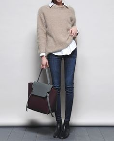 Minimalission | via Tumblr pretty, #bag - #fashion, #beige - jeans