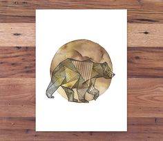 Full Moon Intricate Geometric Bear - Spirit Animal Print from Handmade Ink & Watercolor Painting via Etsy