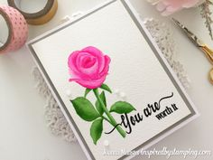 Inspired by Stamping, Joanna Munster, Garden Roses stamp set, You Are stamp set, Watercolor video tutorial, thinking of you card