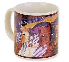 "Brand New Laurel Burch Designer 14 oz Ceramic ""Moroccan Mares"" Mug"