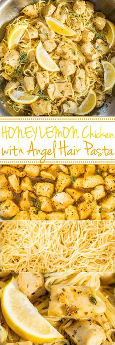 Honey Lemon Chicken with Angel Hair Pasta - Easy, ready in 20 minutes, and you'll love the tangy-sweet flavor!! A healthy weeknight dinner for those busy nights!! #recipe