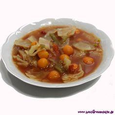 Manus Verbrennungssuppe eine Magic Soup - Kohlsuppendiät vegetarisch vegan laktosefrei glutenfrei Soups And Stews, Thai Red Curry, Chili, Low Carb, Paleo, Healthy Recipes, Snacks, Vegetables, Cooking