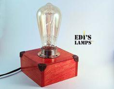 Mahogany Color, Table Lamp, Desk Lamp, Bedside Lamp, Edison Lamp, Edison Bulb Lamp, Edison Light, Handmade, Wooden, Vintage, Father Gift