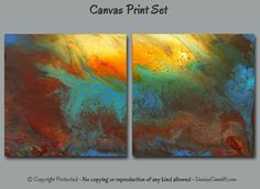 Designed for home or office wall decor, the colors in this dramatic abstract art include turquoise, teal, blue, brick red, brown, orange, gold, yellow, and green. Super sized print set available up to 80 wide - ideal for office decor or commercial wall space.  ► Title: September Evening - square diptych  ►► DETAILS ►► PLEASE READ ►► ☼ Medium: Giclée canvas prints of original painting by Denise Cunniff. ☼ Finish: High quality 1.5 deep gallery wrapped canvas prints. No need for a frame - just…