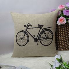 1 linen simple bicycle / bike  throw pillow cover by xinghuajiang, $18.00