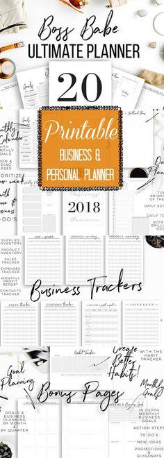 Creative Organization: Boss Babe Ultimate Planner. 2018 Business Planner | Goals Planner | Ultimate Printable Planner Bundle #affiliate #printableplanner #businessplanner #planning