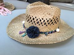 Straw cowgirl hat Done by me :-) Boho Ibiza style